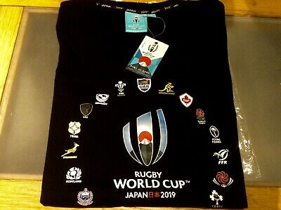 Rugby World Cup Japan 2019 T-shirt 20 Nations Black Brand New Large