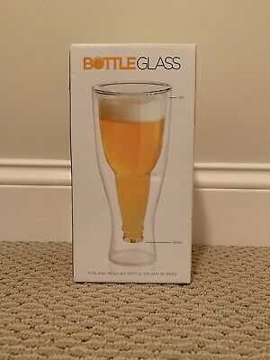HIGHWAVE Double-Wall Australian Beer Glass Frosted Upside Down Bottle Hand-Blown