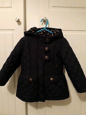 Girls Next Coat Navy Blue Quilted Padded Autumn Winter Age 3-4 Years