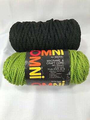 Macrame Braided Craft Cord Unicraft Spring Green & Black Over 140 Yards Vintage
