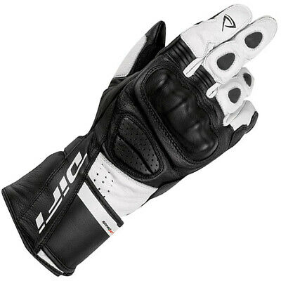 Difi Abby Ladies Leather Gloves Motorcycle Gloves White/Black-Large