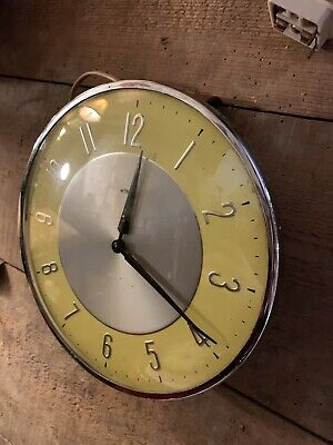 Vintage Retro Metamec Electric Wall Clock With Yellow & White Face