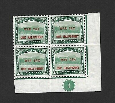 Dominica War Tax SG55 1d Plate block of 4 Mint Never Hinged MNH Cat £15+