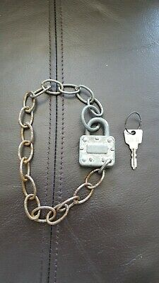 Vintage collectable  Small Squire Padlock With Fixed Chain and one Original Key