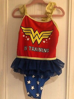 Girls F&F Red Blue Gold Wonder Woman Swimming Costume Swimsuit Age 5-6 Years
