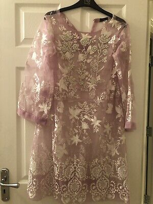 Agha Noor Shirt In Lilac Colour With White Emboridary And Pearls Stunning Piece