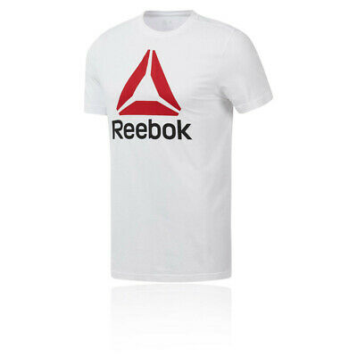 Reebok Mens QQR Stacked T Shirt Tee Top Red White Sports Gym Breathable