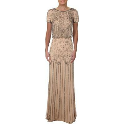 Adrianna Papell Womens Taupe Chiffon Embellished Formal Dress Gown 14 BHFO 4510