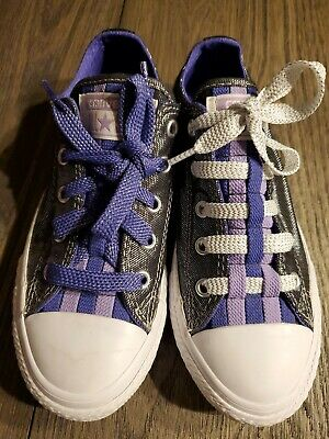 Converse all star size 13 shoes SHIMMER SILVER  PURPLE BLACK EXCELLENT girls