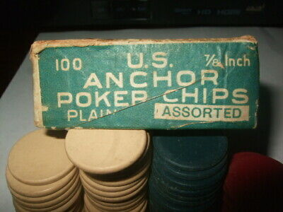 Vintage U.S. Anchor Clay Mini Poker Chips in Original Box 7/8""