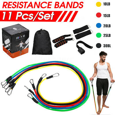 11x Kit Resistance Bands Fitness Training Tubes Workout Exercise Gym Yoga New