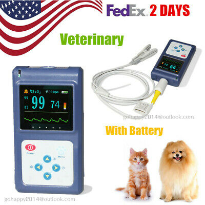 USA vet Handheld Veterinary Pulse Oximeter Tongue SpO2 Probe Software fedex 2day