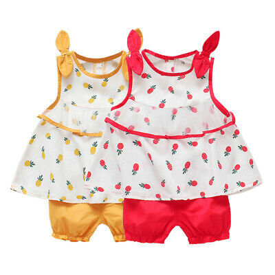 Baby Girl Sleeveless Pineapple Tops T-shirt With Mesh Design Shorts Outfits Set