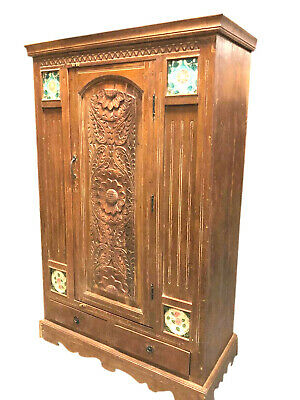 Antique Armoire Carved Wood Cabinet Rustic Farmhouse Boho Eclectic Storage Chest