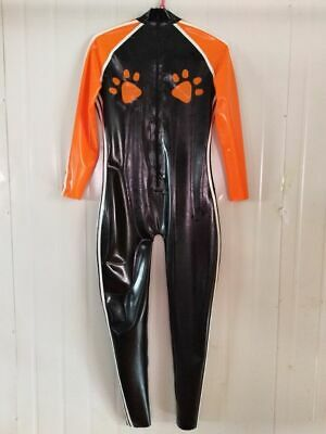 Latex Overall Bodysuit 100% Rubber Black Orange catsuit zip Cosplay Gummi S-XXL