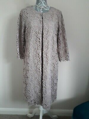 Classy Guipure Lace Gina Bacconi Mother of Bride Dress & Long Line Coat Size 14