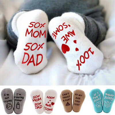1Pair Baby Kids Letter Print IF YOU CAN READ Anti-Slip Sock Cotton Baby Ste M8X3