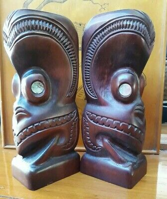 Carved Wooden Maori Book Ends - Rotorua - 23.5cm Height