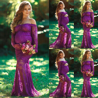 PregnantWomen Lace Off Shoulder MaternityMaxi Gown Photography Shoot Props
