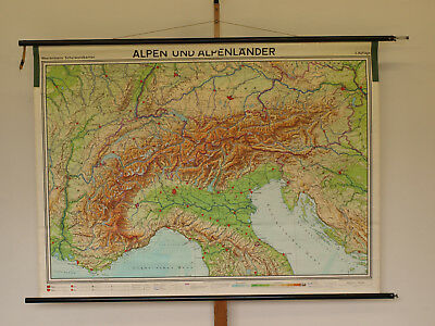 Beautiful Schulwandkarte Alpine Countries 180x133cm 1973 Vintage Wall Map States