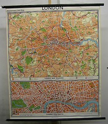 Schulwandkarte Beautiful Old Londonkarte City Map 109x132cm Vintage from 1970