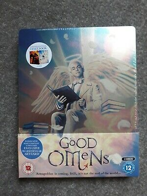 Good Omens (Steel Book) [Blu-ray] with 3d art card. Brand new.