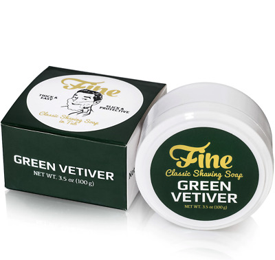 Fine Accoutrements Green Vetiver Classic Shaving Soap in Tub (100g)