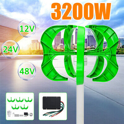 3200W DC 12/24/48V 5 Blades Wind Turbines Generator Vertical Charge Controller 1