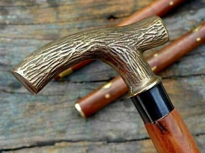 Handmade Solid Brass Head Antique Derby Design Handle Walking Stick Wooden Cane
