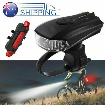 MTB Bike Bicycle Cycling USB Rechargeable LED Head Front Light Rear Tail Lamp AU