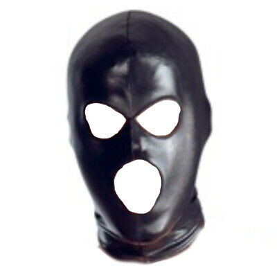 Black Solid PVC Wet Look Full Head Hood Fetish Party Restraint Mask Blind Fold