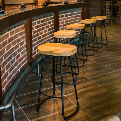 Industrial Urban Bar Stool Wooden Top Shabby Vintage Chic Kitchen Tractor Seat