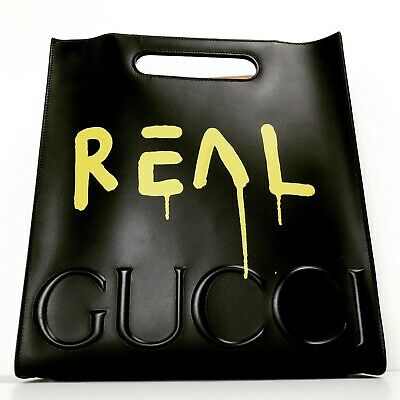 GUCCI Black Real Ghost Graffiti Tote Leather Shoulder Bag Yellow Trouble Andrew