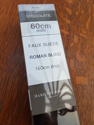 Roman blinds, chocolate faux suede