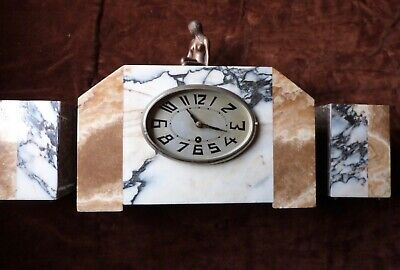 Art deco marble clock with garnitures
