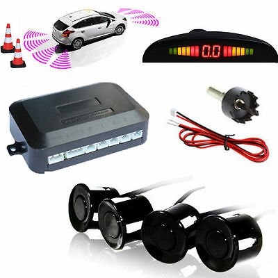 Wireless Car Parking Rear Reverse 4 Sensors Kit Buzzer Radar Display Audio Alarm