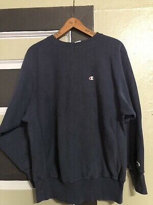 Vtg 90S Distressed Champion Reverse Weave  Crewneck Navy Blue Sweatshirt Xl