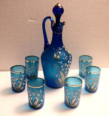 Lily of the valley aRt nOuVeAu Decanter w/6 Glasses thickly enameled Blue Glass