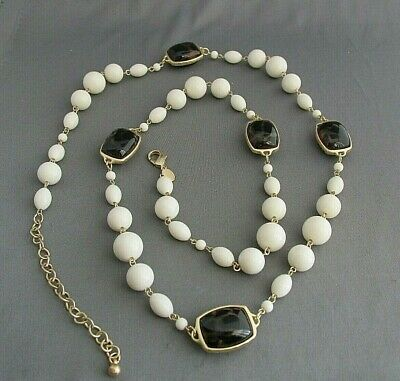 Vintage Chico's Gold Tone Faux Tortoise Shell White Graduating Bead Necklace