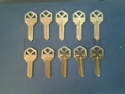 10 key blanks for Kwikset, KW1, 5 pin, solid brass blank, Ilco Taylor brand USA