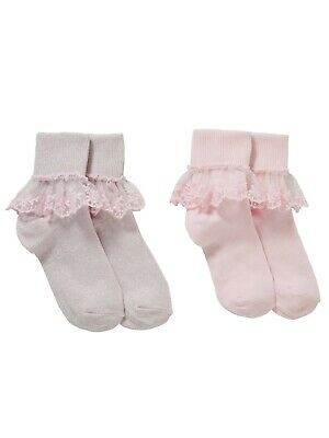 John Lewis Girls' Bridal Floral Lace Socks 2 Pack/ Pink Size 4-7 New With Defect