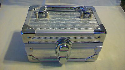 Small Silver Suitcase Style Trinket Or Jewelry Box With Mirror