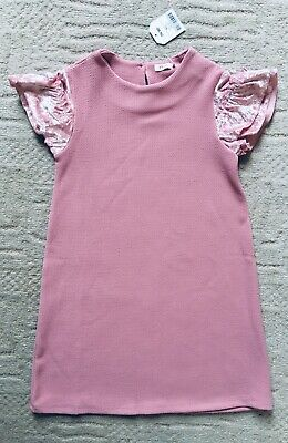 Girls Next Stunning Baby Pink Dress With Velour Sleeves Age 8 New 🖤