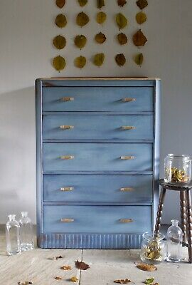 Vintage Blue Boho Art Deco Oak Tallboy Drawers Storage