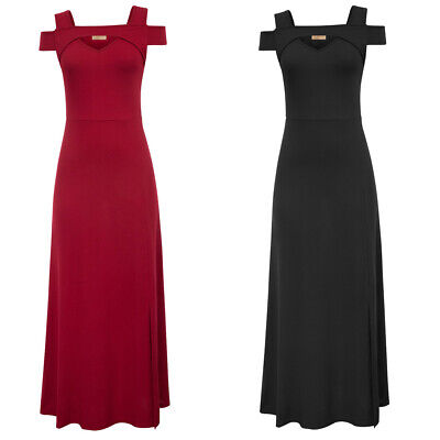 Womens Cap Sleeve Cold Shoulders V-Neck Split Front Maxi Dress Long Dresses