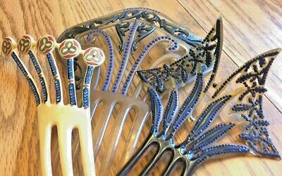 Vintage Celluloid Plastic Hair Combs Lot Art Deco Victorian Jeweled Large