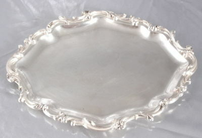 Antique france Louis Philippe 19th STERLING SILVER DESSERT SERVING PLATTER TRAY