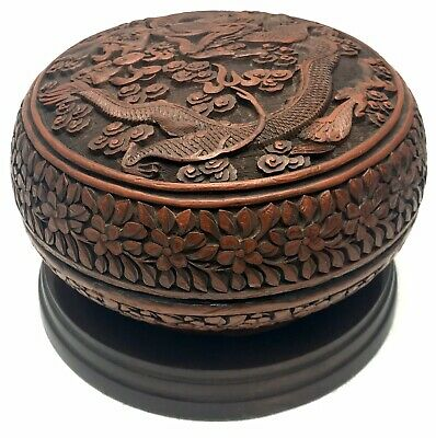 Antique Chinese Wood Box IMPERIAL DRAGON Red Cinnabar Color
