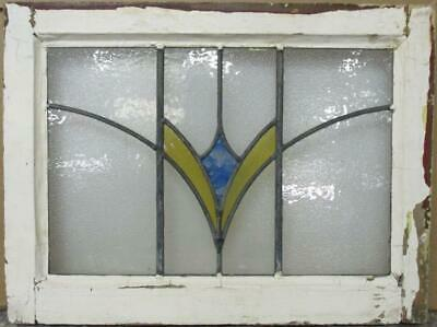 "OLD ENGLISH LEADED STAINED GLASS WINDOW Stunning Geo Sweep Design 22"" x 16.5"""