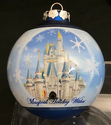 Disney Parks Magical Holiday Wishes Glass Ornament Cinderella's Castle